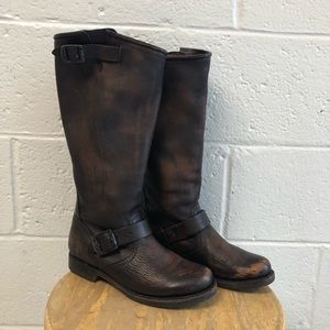 Frye Shoes - Frye Distressed Brown Leather Veronica Boots